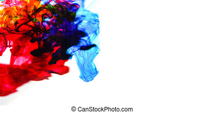 cmyk ink concept color splash for paint / Rainbow ink drop Acrylic colors in water on white background