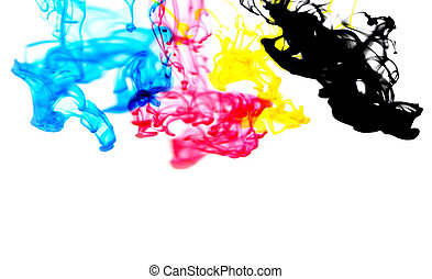 cmyk ink concept color splash for paint with cyan blue red magenta yellow and black - Rainbow ink drop Acrylic colors in water on white background , blur and selective focus