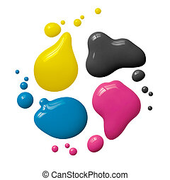 splattered cmyk paint isolated on white background