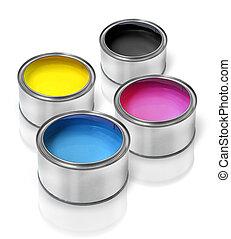 cmyk, lata pintura, latas