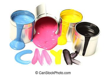 cmyk, latas pintura