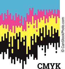 cmyk, linee, concetto, arrotondato, irregolare