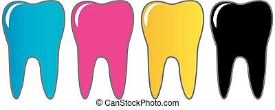 cmyk, logotipo, odontólogo, dente