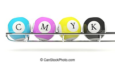 CMYK lottery balls isolated on white