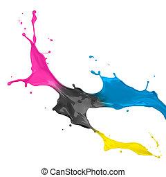 cmyk, målarfärg plaska