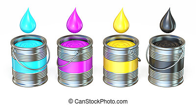 CMYK metal tins with color drops 3D