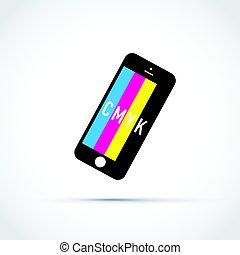 cmyk, mobile, couleur, téléphone, sélectionneur