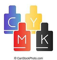 CMYK paint cans flat icon. Print ink color icons in trendy flat style. Printing paints gradient style design, designed for web and app. Eps 10.