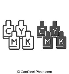 CMYK paint cans line and glyph icon. Print ink vector illustration isolated on white. Printing paints outline style design, designed for web and app. Eps 10.