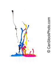 CMYK paint colors splashing