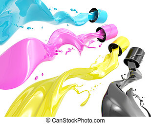 Definition of CMYK color system. Four colors in the form of liquid on a white background.