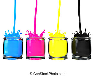 CMYK paint glass vessels - Very high resolution 3d render of...