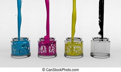 CMYK Paint Pots - Cyan, magenta, yellow and black paint...