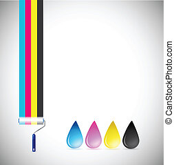 cmyk paint roller and ink drops illustration design over a...