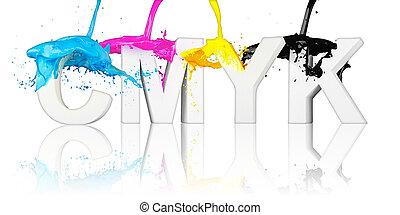 Cmyk Paint Splashing On White A Splash Of Colorful Paint In