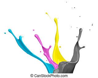 CMYK Paint Splash - paint splash of cyan, magenta, yellow...