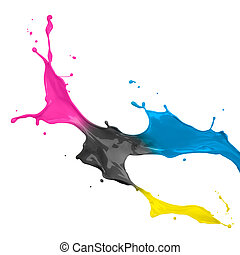 CMYK Paint Splash - paint splash of cyan, magenta, yellow...