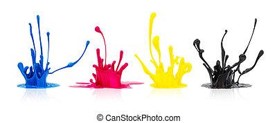CMYK paint splashing on white