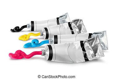 Cmyk paint tubes squeezed