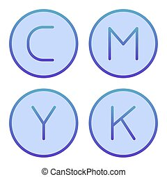 CMYK palette flat icon. Print ink blue icons in trendy flat style. Printing paint gradient style design, designed for web and app. Eps 10.
