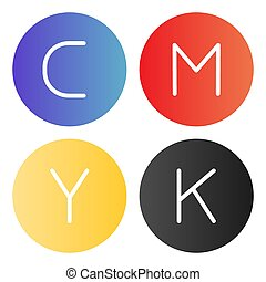 CMYK palette flat icon. Print ink color icons in trendy flat style. Printing paint gradient style design, designed for web and app. Eps 10.