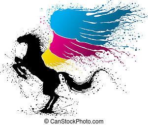 CMYK pegasus - Black pegasus with wing in colors of CMYK