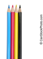 CMYK pencils - Top view of cyan, magenta, yellow and black