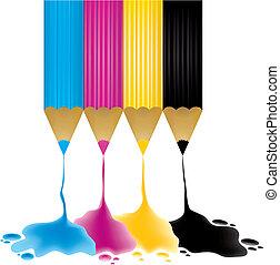 CMYK pencils with paint drop, vector illustration