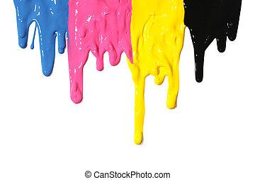 cmyk, pintura, gotejando