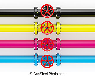 CMYK pipelines - 3d render of cmyk pipelines isolated on...