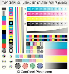 CMYK Press Print Marks And Colour Tone Gradient Bars For Printer Test Vector Set