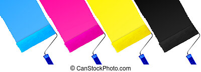 CMYK print symbol set of paint roller