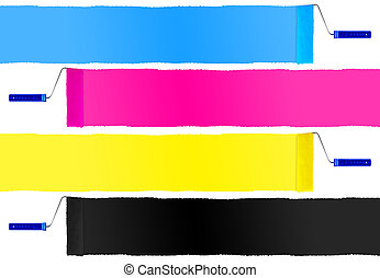 CMYK print symbol set of paint roller isolated on white background