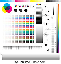 Complete set of cmyk graphic symbol utilities; good for printing tests. In detail: Registration marks, four process ramps and thickness ramps.