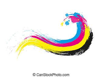 cmyk printing colors wave illustration