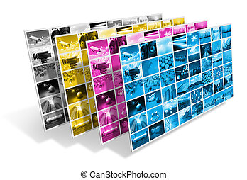 CMYK printing concept - CMYK printing process concept...