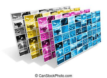 CMYK printing concept - CMYK printing process concept...