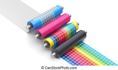 CMYK printing concept process with set of printer rollers and color chart