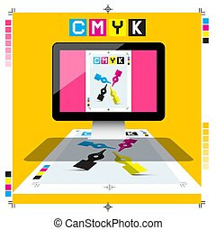 CMYK Printing Document on PC Computer with Marks - Vector DTP Symbol
