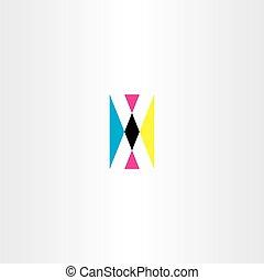 cmyk printing letter x vector logo icon
