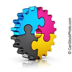 CMYK puzzle gear - Creative color printing computer...