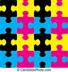 cmyk, puzzle, seamless