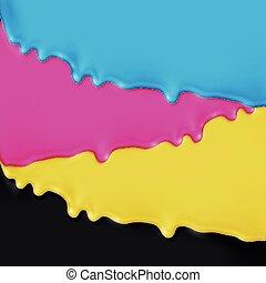 CMYK realistic paint, vector illustration