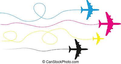 cmyk, repülőgépek