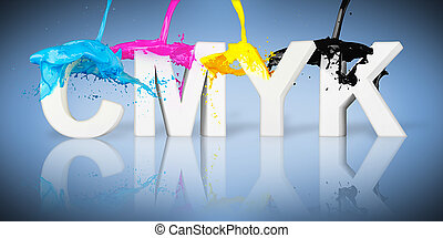 cmyk, respingo tinta, letras