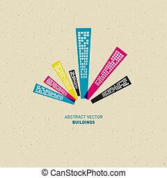 cmyk, resumen, colores, edificios
