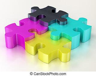 cmyk, rompecabezas, pedazos jigsaw
