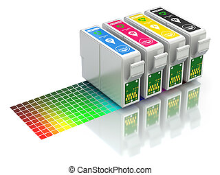 CMYK set of cartridges for ink jet printer - 3D concept with...