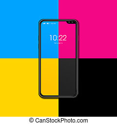 CMYK smartphone isolated on color background. 3D render