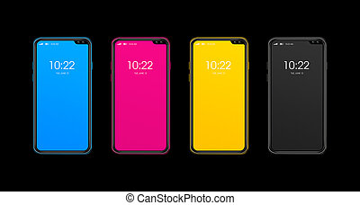 CMYK smartphone set isolated on black Background. 3D render